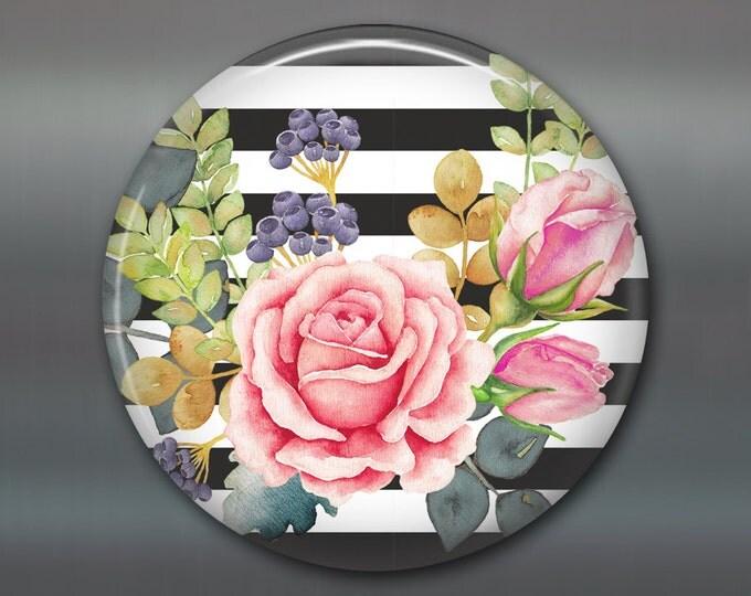"""3.5"""" Rose fridge magnet, water color rose art magnet, kitchen decor, large magnet, floral decor, housewarming gift, hostess gift"""