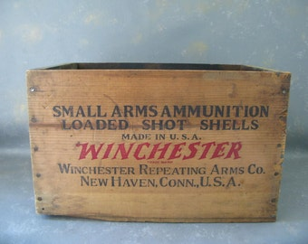 Vintage  Ammunition Wood Crate, Winchester, Box, Advertising, Ranger