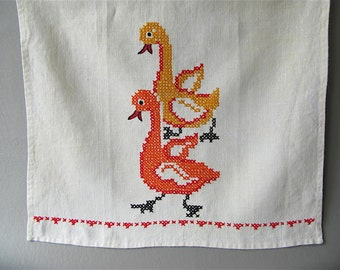 Vintage Cross Stitch Tea Towel, Ducks, linen, embroidery, orange