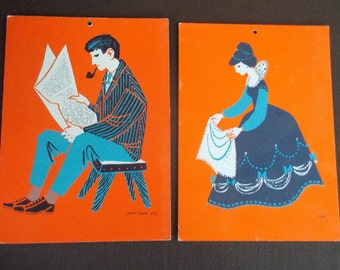 Pair of Vintage Toos Koedam Hanging School Art Cards Moe and Oom