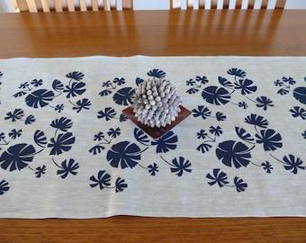 Linen Table Runner Hand Screen Printed Australian Fan Palm Navy & Natural