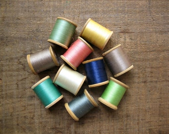 10 Wooden Spools of Vintage Thread