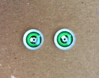 doll Glass eyes flat back 10 mm diameter 8 mm iris FANTASY GREEN