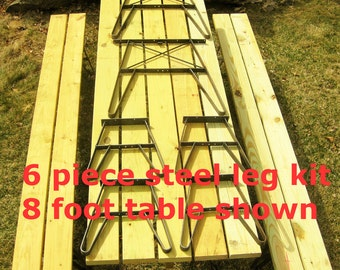 Outdoor Furniture Patio Table Metal Leg Kit w Seperate Benches Made in USA