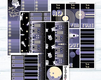 Classic FULL-COVER 5 SHEETS - Retro Space Planner Sticker Set