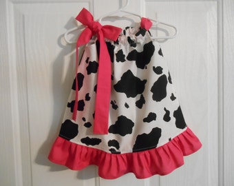 Pillowcase cow print dress choose of solid color of tie and ruffle infant through 7/8 years