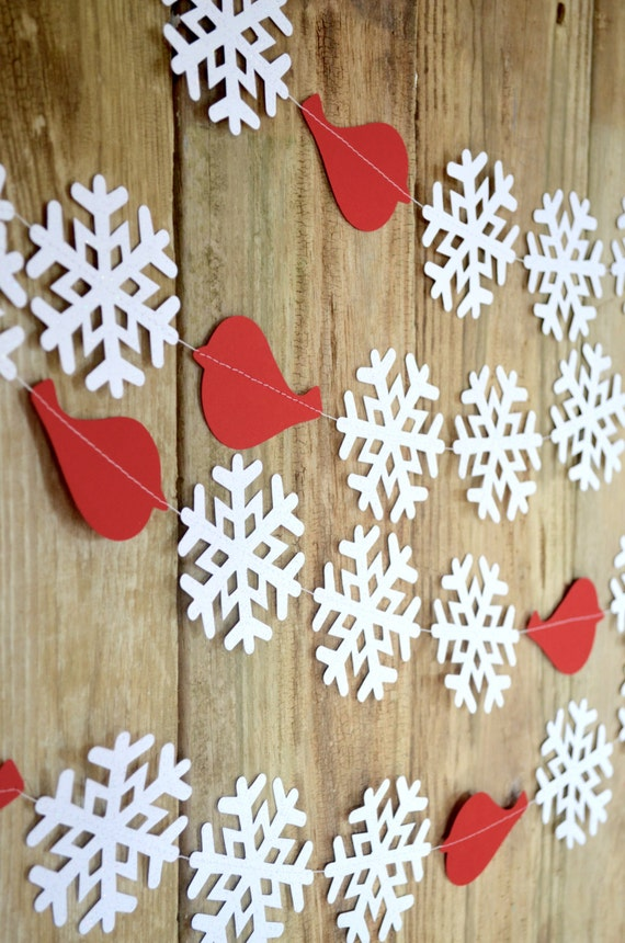 Redbird Snowflake Garland - sparkly winter snowflake banner with crimson red birds