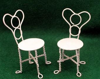 Miniature Chairs Ice Cream Parlor Patio Fairy Garden Dollhouse Furniture White Metal Wire