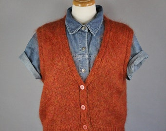 Vintage 80s Women's Fall Pumpkin Rust Orange Mohair Button Down Wear to Work Sweater Vest