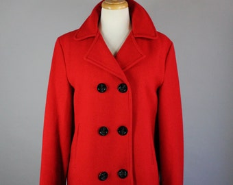 Women's Red Wool Peacoat, Vintage 80s, Lands End, Winter Coat, Spring, Fire Engine Red, Military Style, Street Style, Rare Jacket, Large