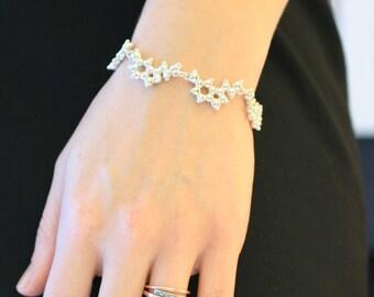 Serotonin Molecule Silver Bracelet