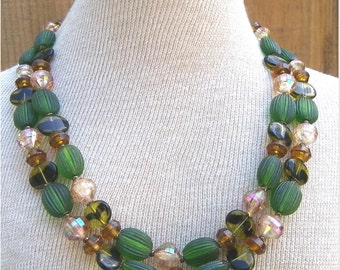 TWO STRAND NECKLACE, 1960's, West Germany, Amber and Greens, Plastic and Glass Beads, Vintage Costume, Fashion Jewelry