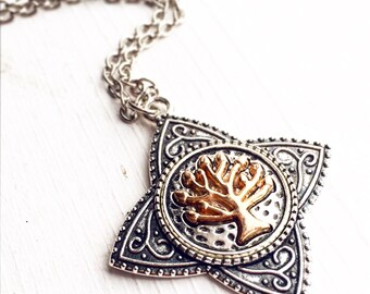 Tree of Life Necklace / Pick your Length /Antique Silver Pendant Two Tone Nature Lover Gift / Italian Renaissance Costume Wedding Bridal