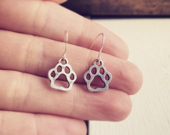 Paw Print Earrings Minimalist Style / Antique Silver Pierced Dangly / Dog Puppy Lovers Gift Small Everyday / Little Paws Jewelry Pet Lover