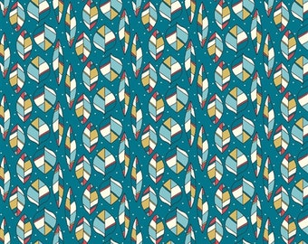 SALE *** 30% off *** Picnic Whimsy - Leaves Teal by Rebekah Ginda - 1/2 yard - Organic Birch Fabrics
