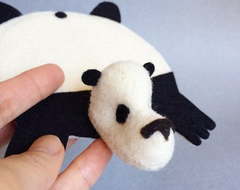 Panda Bear Coaster by Dandyrions / Home Decor / Felt cup coaster