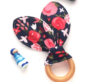 Large Floral Teething Toy, Navy Blue and Pink, Posy Garden, Magenta Raspberry Bubblegum Pink, Terry Fabric Teether, Teething Ring, Baby Gift
