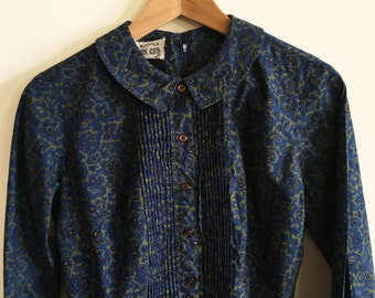 cos cob blue shift dress long sleeve floral small medium