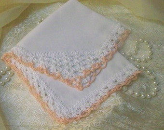 Bridesmaids Handkerchief, Hanky, Hankie, Bridal Party Gift, Personalized, Monogrammed, Embroidered, Hand Crochet, Lace, Peach, Soft, Ladies