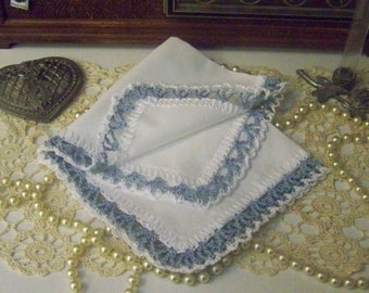 Ladies Lace Handkerchief, Hanky, Hankie, Something Blue, Bridal Keepsake, Hand Crochet, Monogrammed, Personalized, Embroidered, Bouquet Wrap