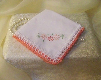 Embroidered Handkerchief, Hanky, Hankie, Ladies, Women's, Floral, Peach, Custom Embroidered, Monogrammed, Personalized, Hand Crochet