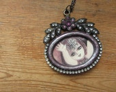 Upcycled Purple Picture Frame Pendant with Girl Illustration, Boho Chic Necklace, Photo Frame Pendant, Vintage Children's Book Art, Cameo