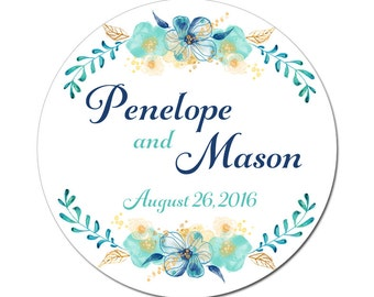 Custom Wedding Labels Personalized Delicate Teal Gold and Blue Flowers Watercolor Florals Round Glossy Designer Stickers - Quantity 100