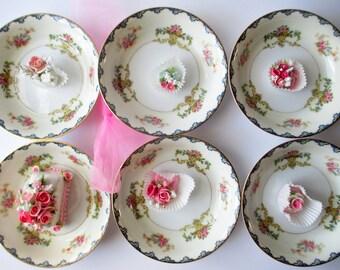 Vintage Noritake Pink Blue Floral Dessert Bowls Set of Six