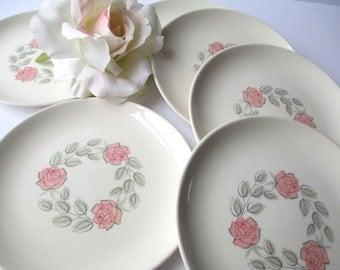 Vintage Harmony House Crinoline Dessert/Bread & Butter Plates Set of Six - Pink Rose