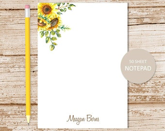 personalized notepad . sunflower notepad . watercolor sunflowers . sunflower note pad . personalized stationery . botanical stationary