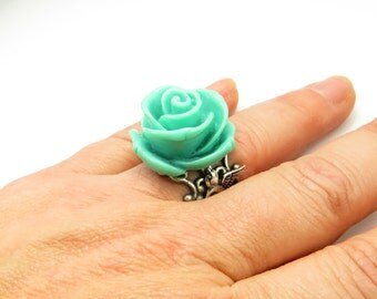 Steampunk Teal Sparrow Rose Ring- Adjustable Ring