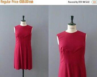 40% OFF SALE // Vintage 1960s dress. Ruby red shift dress