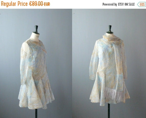 40% OFF SALE // Vintage chiffon dress. 1960s pastel dress with ostrich-feather stole