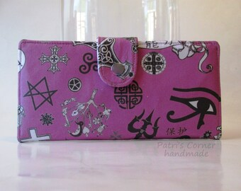 Handmade women wallet - Protection symbols - Supernatural - ready to ship - Spoonflower fabric - Witchcraft -  purse