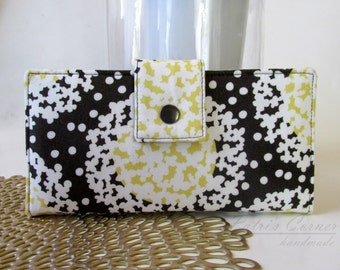 Handmade women wallet clutch - Hydrangeas - Yellow and white floral - Ready to ship - ID clear pocket - organic purse - Gift ideas for her