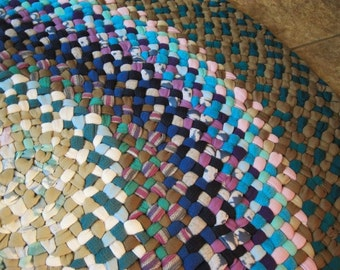 New Ready To Ship Handmade Hand Braided Round Braided Rug / Rag Rug / Floor Carpet in Blues / Taupe / Teals for your nursery / Bathroom