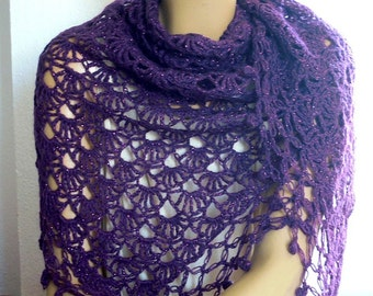 purple crochet shawl