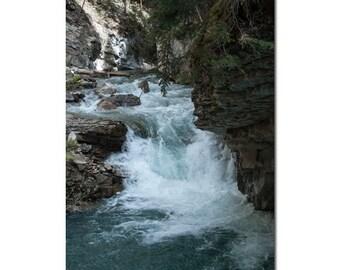 Waterfall Photography Print, Canadian Landscape Picture, Johnston Canyon, Alberta Rocky Mountains, Spa Wall Decor, Lake House Wall Art