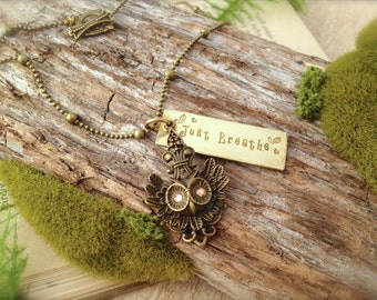 Owl Just Breathe Necklace