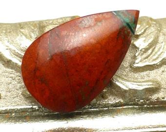 Sonoran Sunrise Cabochon Tear Drop Pear Chrysocolla Arizona USA One of a Kind Rare Red Turquoise Jewelry Handmade