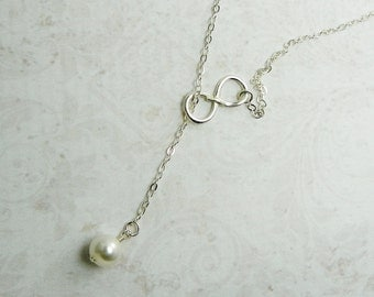 Sterling Silver White Pearl Infinity Necklace / Wedding / Bridal /  Y Necklace