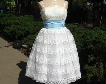 Vintage 50s Dress White Chantilly Lace & Blue Taffeta Full Skirt Formal Party Prom Dress