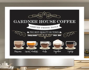 Coffee Bar Wall Art - Family Coffee House - Personalized with Your Family Name and Year Established - 24x36 Print or Download