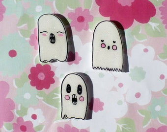 Cutie pie Ghost set, brooch, pin set, lapel set, jewelry, creepy cute