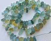 VERY Rare 10-14mm Long, 10 Inch Long Strand,Brand New, Amazing Natural AQUAMARINE Hammered Rock Side Drilled Nuggets.
