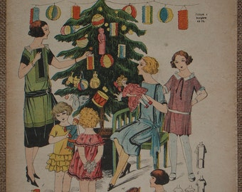 La Mode du Jour 1923 Christmas issue of French fashion magazine published 20 December 1923 with color fashion illustrations