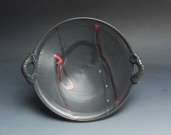 Clearance sale Handmade pottery porcelain serving bowl, fruit, salad bread bowl soft black 3105