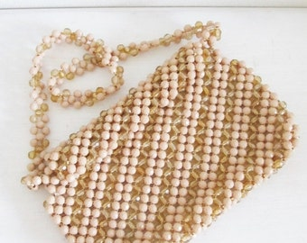 40% OFF SALE Vintage 1950's Beige Tan Beaded Purse / Made in ITALY Retro Shoulder Bag Handbag