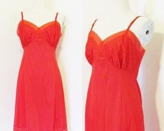 "Vintage 1960's Bright Lipstick Red Slip / Size M/L Ladies Red Lace Lingerie Undergarment Slip 36"" Inch Bust"