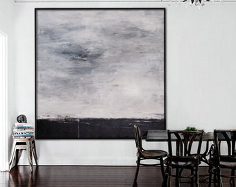 Extra Large Abstract Painting-original acrylic black white landscape square modern -- Elena Petrova